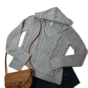Lilu size large angora wool blend hooded sweater